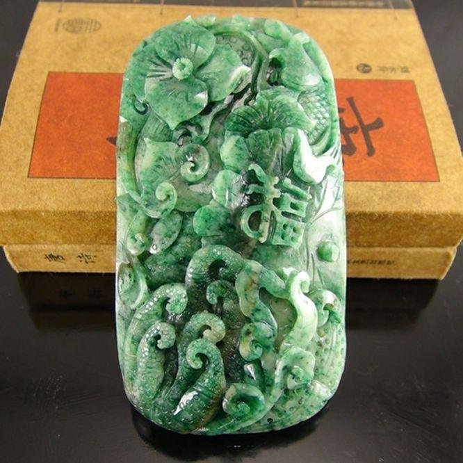 独山玉满绿天蓝料挂件:福寿如意
