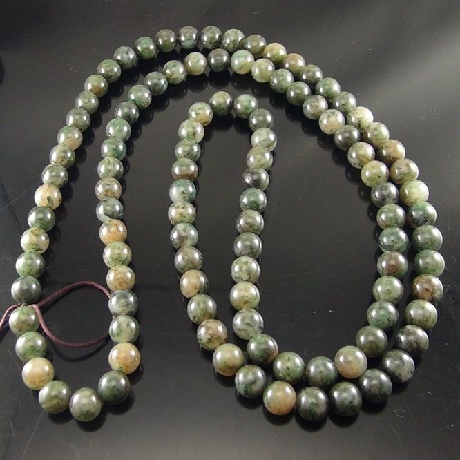 独山玉透水天蓝料佛珠:直径12MM108颗珠子圆珠念珠
