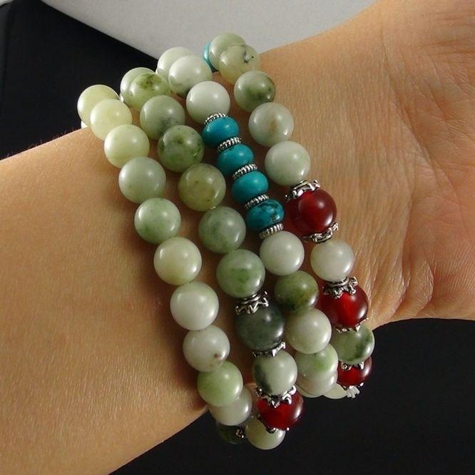 独山玉手串:珠子直径7MM多彩手链/毛衣链