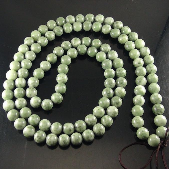 独山玉青绿料圆珠:108颗直径15MM佛珠