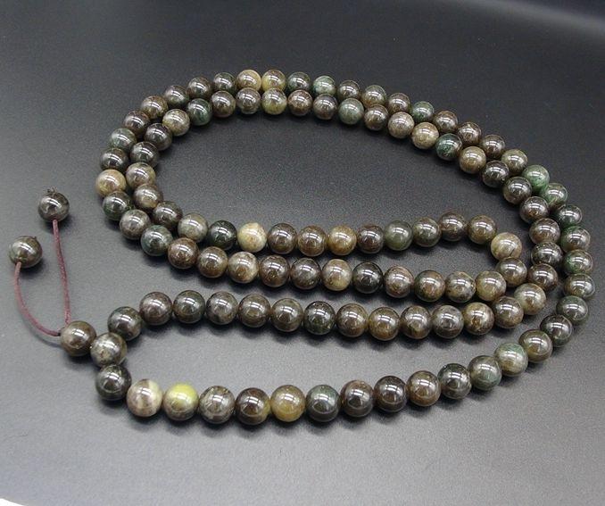 独山玉透水酱紫料佛珠:直径12MM108粒圆珠