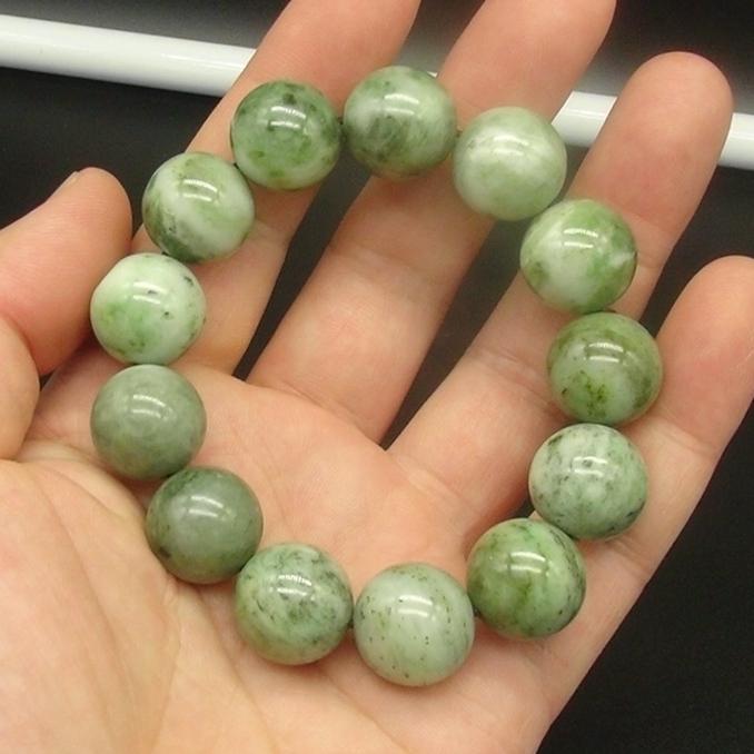 独山玉绿白料圆珠手串:直径15MM珠子手链