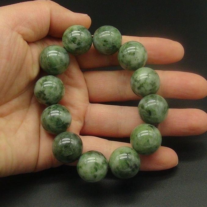 独山玉青绿料圆珠手串:直径18MM珠子手链