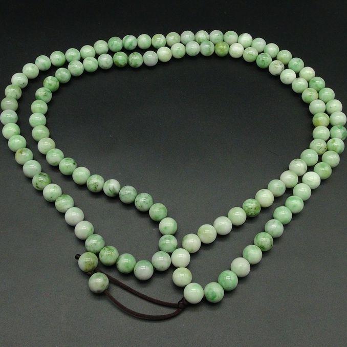 独山玉精品绿白料佛珠:10MM108颗圆珠念珠