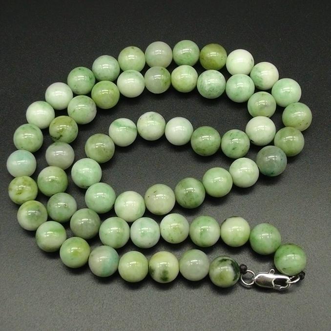 河南独山玉鲜翠绿料直径10MM圆珠子项链项串男款
